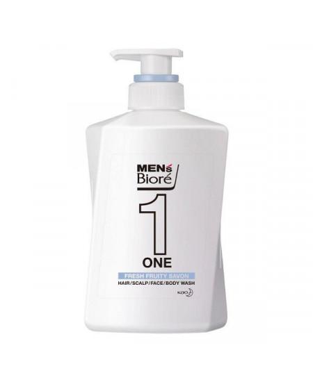 Мужское универсальное очищающее средство 3 в 1 для тела, волос головы и бороды Biore mens ONE 480 ml - фотография №1
