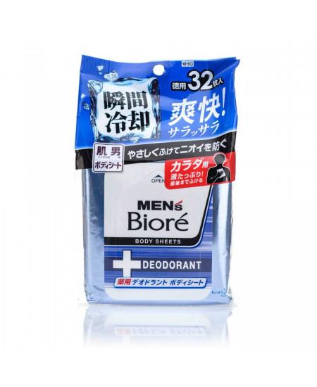 Охлаждающие дезодорированные салфетки Biore mens 32 шт  - фотография №1